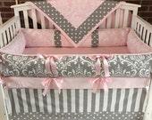 Custom  Crib Bedding  3-5 PC Gray Pink Damask , smooth minky