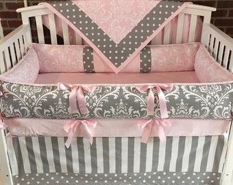 Custom  Crib Bedding  3-5 PC Gray Pink Damask , smooth minky