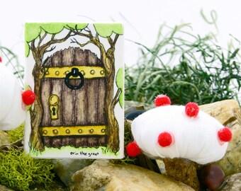 Gnome Garden Door Painting | Fairy Door | Door with Knocker | Watercolor | Tiny, Magic Doors | Tiny Door | Fairy Art | Hand Painted | OOAK