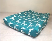 Reserved for Chelsey:  Contour Changing Pad Cover In White Giraffe on Turquoise