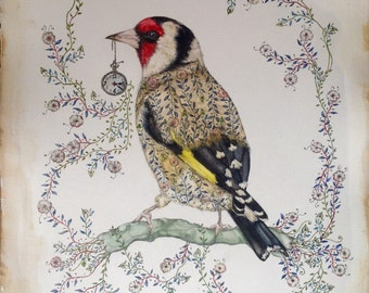 Gold finch illustration print from original watercolor