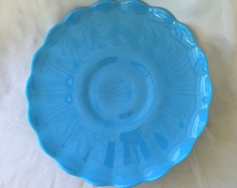 Vintage Turquoise Blue Milk Glass Cake Stand