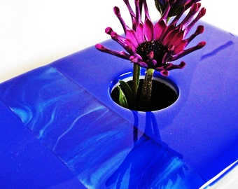 Fused Glass Ikebana Vase Blue Glass Home Decor Flowers Flower Bud Vase Gifts for Him Gifts for Her Under 75 Dollars Gifts for Mom or Dad
