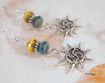 Silver Star Earrings, Czech Glass Bead Earrings, Beaded Pierced or Clip-onEarrings, Gift for Her, OOAK Handmade earrings. CKDesigns.US