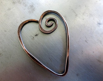 COPPER HEART PENDANT, Freeform Copper Wire Heart, Choice of finishes