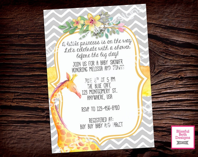 GIRAFFE BABY SHOWER, Yellow and Gray Baby Shower Invitation, Printable Baby Shower Invitation, Baby Shower, Giraffe Baby Shower, Watercolor