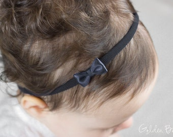 Little Black Baby Bow - Flower Girl Headband - Little Satin Black Bow Handmade Headband - Fits From Babies to Adults