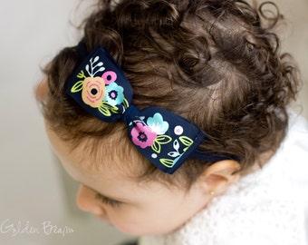 Baby Navy Floral Ava Bow Clip OR Headband - Baby Girl Headband - Baby Grosgrain Bow - Bun Hair Bow - Baby to Adult Handmade Headband