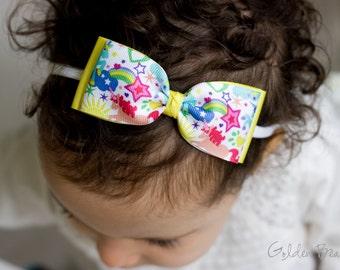 Rainbow and Unicorns Bow Clip OR Headband - Baby Ava Bow Headband - Baby Grosgrain Bow - Bun Hair Bow - Baby to Adult Handmade Headband