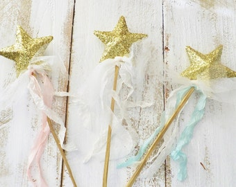Star Wand ~ Flower Girl ~ Birthday Party Favor ~ Gold Glitter ~ Decoration ~ Choice of  Ribbon Color