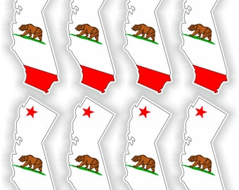 8x California Map Flag Silhouette Stickers for Laptop Book Fridge Guitar Motorcycle Helmet ToolBox Door PC Boat