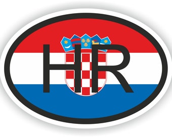 Croatia HR Country Code Oval Sticker with Flag for Bumper Laptop Book Fridge Motorcycle Helmet ToolBox Door Hard Hat Tool Box Locker Truck
