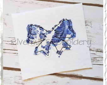 Small Raggy Applique Bow Machine Embroidery Design - 4 Sizes
