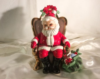 Vintage 1960's Ink Stamp - Signed Josef Originals Santa in Chair Ceramic.  Appx 7in Tall x 5in wide.  Excellent Condition.