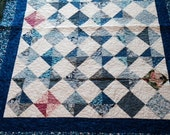 Quilted Throw or Small Twin Scrappy Blue 57 inches by 71.5 inches