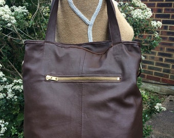 Recycled leather bag - Hobo style bag -soft Brown leather-shoulder-hand held-crossbody- detachable adjustable strap-closes with a ZIP.