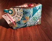 Teal Medallion Small Cosmetic Bag