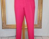 Vintage 1970's Sansabelt Golf Dark Pink Trousers - Size 42