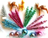 Mini Retro Shiny Pastel Christmas Icicle-Lot of 12-Pale & Hot Pink, Mint, Sky Blue-Miniature Metallic Ornaments-Winter Baby Shower-Holiday