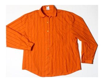 Vintage 70s 80s Muted Orange Striped Cotton Blend Shirt UK 14 US 12