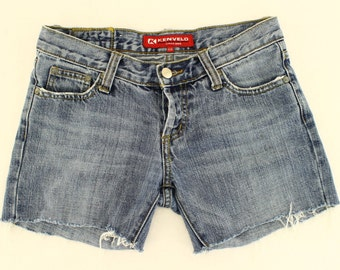 Vintage 90s Kenvelo UK 10 12 Blue Denim Cut Offs Cotton Shorts 27 US 8 10