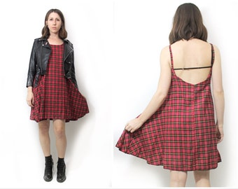 Red Flannel Cami Grunge Made to Order 90s Deadstock Fabric One Size Fall Winter