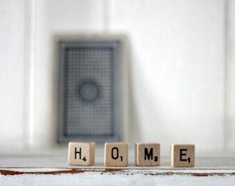 vintage wood block word HOME