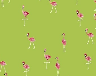 FLAMINGOS pink on bright green cotton print by the yard Windham Fabric 42278-4 bird tropical
