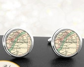 Cufflinks Wilmington Delaware Handmade Cuff Links City State Maps DE Groomsmen Wedding Party Fathers Dads Men