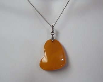 Vintage Copal and Sterling Pendant, Heart Shapped Yellow Yoke Copal