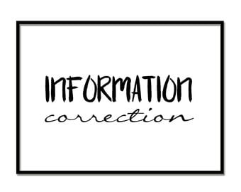 INFORMATION CORRECTION