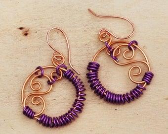 SALE - Purple Aluminum Copper Wire Wrap Spiral Swirl Round Earrings