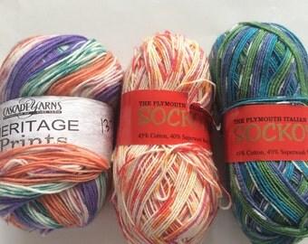 Assorted sock yarn lot (3 skeins)