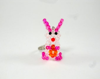 Beaded Rabbit, Easter Rabbit, Rabbit Keychain, Rabbit with Carrot Keychain, Bead Rabbit, Easter Gift, White Rabbit Keychain, Beaded Rabbit
