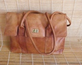 Vintage Lady's Medium Size BrownFaux Leather Hand Bag Shoulder Bag Purse