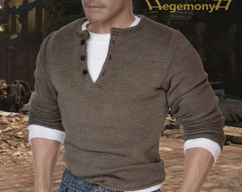 1/6th scale Uncharted 2 Nathan Drake inspired henley shirt for: action figures and male fashion dolls