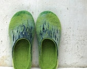 Christmas in JULY Felted slippers Women home shoes Green Blue Natural Traditional felt High quality Women fashion 100% wool Gift for her Woo