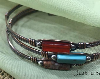 Copper gemstone bracelets bangles