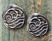 Ocean Wave Charms - Hand Cast Rustic Pewter Pair of Art Jewelry Embellisments