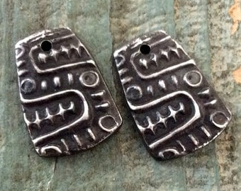 Aztec Design Jewelry Elements - Handmade Rustic Pewter Charms with Ancient Aztec Serpent Design