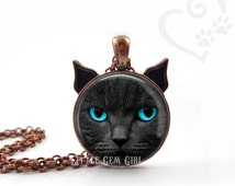 Black Cat Necklace - Blue Eyed Cat Jewelry - Cat Face Pendant - Black Kitten Necklace or Key Chain Charm - Cat Lover Crazy Cat Lady Necklace