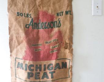 Vintage Michigan Peat Sack Developer Sack Vintage Sack Wayne Feed Sack Michigan Wall Decor Farm Decor Andersons State of Michigan