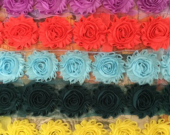 5 Yards Shabby Flowers - Lilac , Bright coral , Baby blue , Antique green and Bright yellow