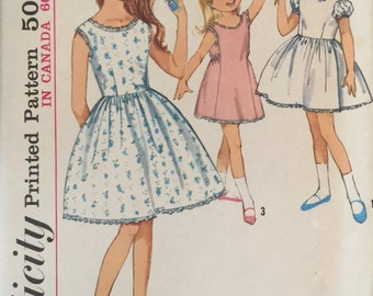 "Simplicity 5249 Girls' Blouse-Slip or Slip Pattern, UNCUT, Size 8, Breast 26"", Vintage 1963, Retro, Flashback"