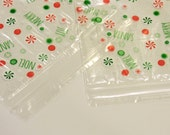Christmas Treat Bags, 30 Zip Seal Party Favor Sacks, Peppermint Candy Cookie Classroom Secret Santa Holiday Party Supply itsyourcountry
