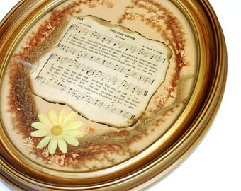 Amazing Grace Collage, Vintage Oval Framed Christian Hymn, Handmade Inspirational Wall Art or Table Decor itsyourcountry