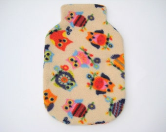 Polar Fleece Hot Water Bottle Cover - Colourful Owls, Regular Size Cover