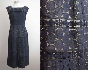 Vintage 50s 60s Navy Blue Cotton Lace Dress Nautical Collar Small