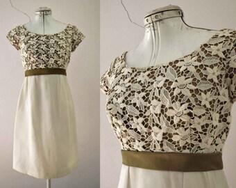 60s White Bronze Lace Bodice Evening Bridal Mini Dress Shift Small