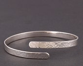 Sterling silver hammered wrap bangle